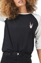 Topshop Women's By Tee & Cake Rock Hand Baseball Tee
