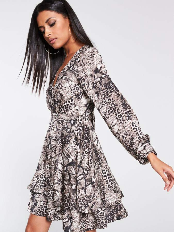 AX Paris Snake Print Tiered Dress - Grey