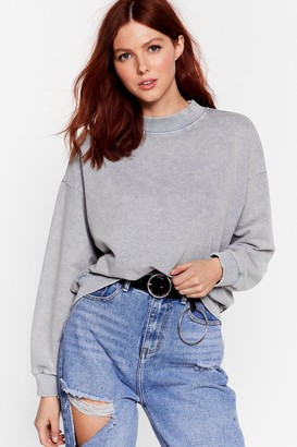 Nasty Gal Womens Oh My Wash Relaxed Sweatshirt - Grey - M