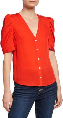 Veronica Beard Garland V-Neck Button-Front Silk Blouse