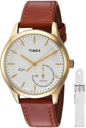 Timex Women's TWG013600 IQ+ Move Activity Tracker Brown Leather Strap Smartwatch Set With Extra White Silicone Strap