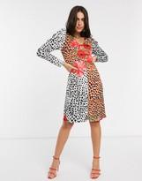 Liquorish tonal animal print midi dress with ruched sleeves