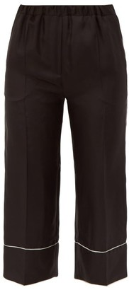 Valentino Cropped Silk Pyjama Trousers - Womens - Black White