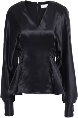 Victoria Beckham Pleated Silk-satin Top