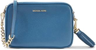 MICHAEL Michael Kors Tassel-trimmed Logo-embellished Pebbled-leather Shoulder Bag