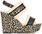 Oscar de la Renta floral lace wedges - women - Leather/Polyamide - 36.5