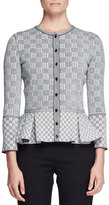 Alexander McQueen Check Tweed Peplum Cardigan, Black/White