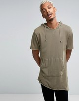 Pull&Bear Short Sleeve Sweatshirt In Khaki