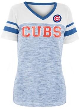5th & Ocean Women's Chicago Cubs Space Dye Sequin T-Shirt