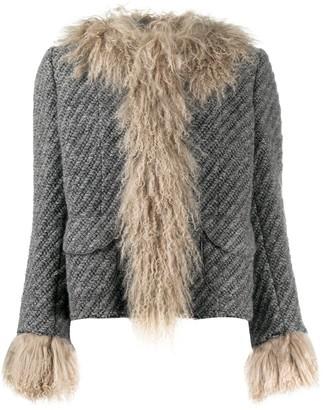 Dolce & Gabbana Lamb Fur-Trimmed Jacket