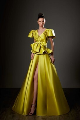Ziad Germanos Bell Sleeve Peplum Slit Gown