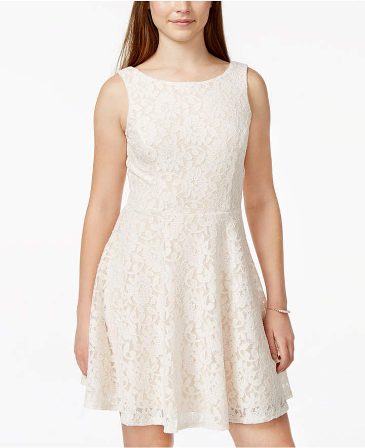 Speechless Juniors' Lace Fit & Flare Tank Dress