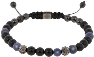 Shamballa Jewels 18kt Black Gold, Onyx, Diamond And Sapphire Beaded Bracelet