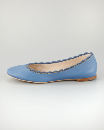 Chloé Scalloped Chain Ballerina Flat, Blue