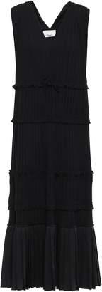 3.1 Phillip Lim Pleated Satin-paneled Crepe De Chine Dress
