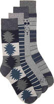 Lucky Brand Men's Geometric Men's's Crew Socks - 4 Pack -Navy/Grey