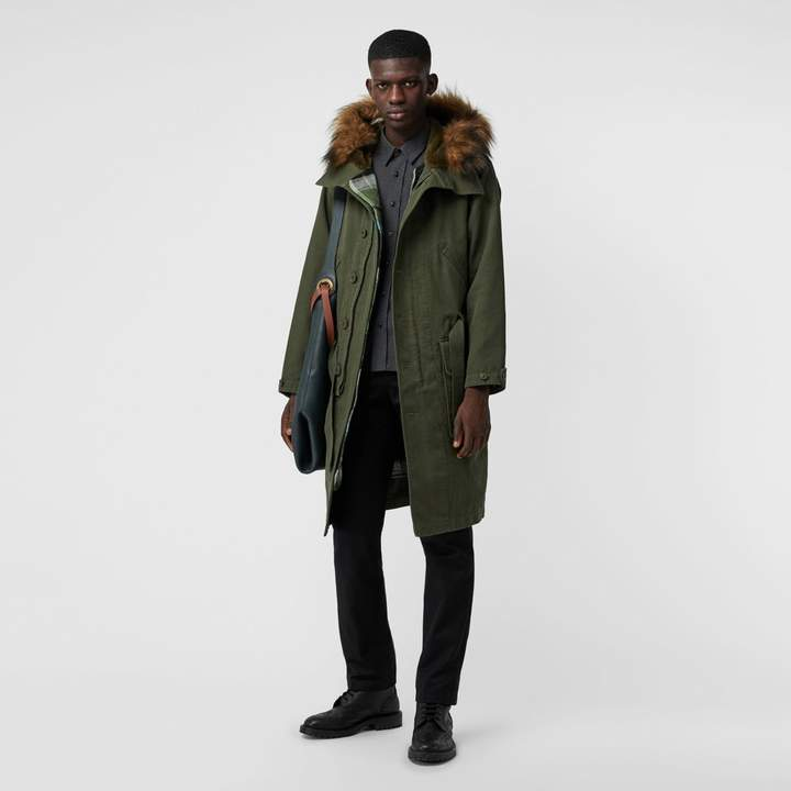 Burberry Double-faced Cotton Silk Hooded Parka with Warmer