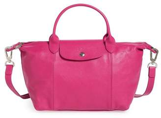 Longchamp Small Le Pliage Cuir Leather Top Handle Tote