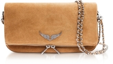 Zadig & Voltaire Cumin Suede Foldable Rock Clutch