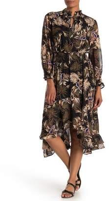 I. MADELINE Palm Print Keyhole Smocked High/Low Midi Dress