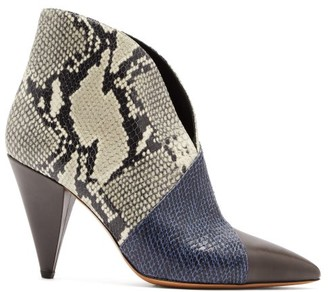 Isabel Marant Archenn Snake-effect Leather Ankle Boots - Womens - Multi