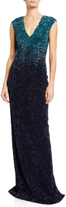 Pamella Roland Ombre Signature Sequin V-Neck Column Gown
