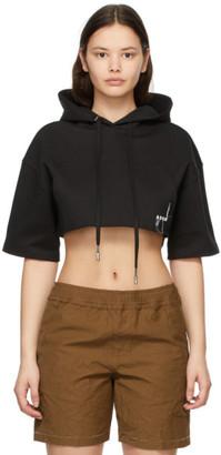 Ader Error Black Cropped Short Sleeve Hoodie