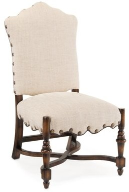 John-Richard Collection French Linen Upholstered Dining Chair (Set of 2