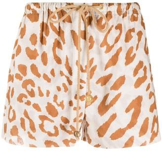 Nanushka drawstring leopard print shorts