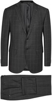 Corneliani Charcoal Super 100's Windowpane Wool Suit