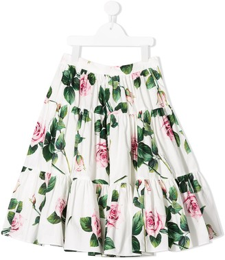 Dolce & Gabbana Kids Tiered Floral Skirt