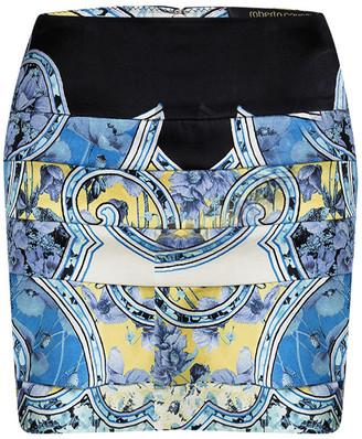 Roberto Cavalli Blue Floral Printed Silk Tiered Mini Skirt S