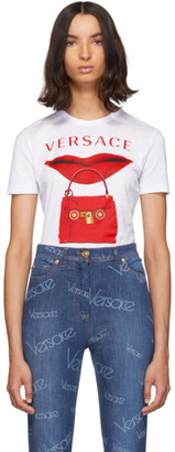 Versace White Lip Bag T-Shirt