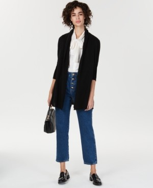 Charter Club Petite Rolled-Edge Pure Cashmere Cardigan