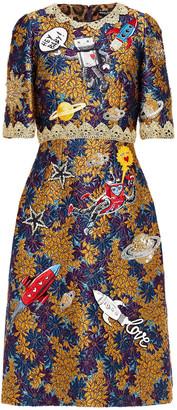Dolce & Gabbana Embellished Embroidered Metallic Brocade Dress
