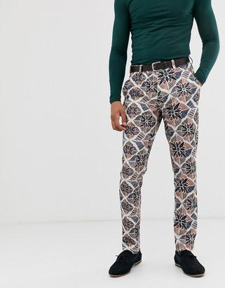 Asos Design DESIGN skinny smart pants in floral seersucker-White