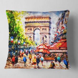 """East Urban Home Cityscape Arc d Triomphe Paris Pillow East Urban Home Size: 16"""" x 16"""", Product Type: Throw Pillow"""