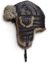 Crown Cap Puffle Rabbit Fur-Trimmed Trapper Hat