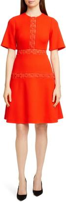 Lela Rose Wave Trim Inset Wool Blend A-Line Dress