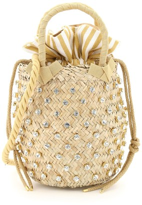 Le Nine NINA SMALL BASKET BAG S2-00033 CRYSTAL STRIPE OS Beige, White Cotton