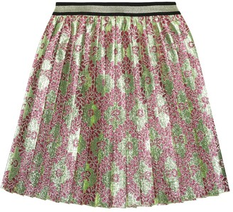 Gucci Kids GG pleated metallic skirt