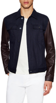 7 For All Mankind Leather Sleeve Denim Jacket