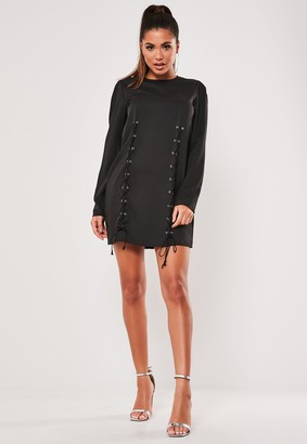 Missguided Black Lace Up Front Shift Dress
