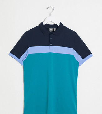 ASOS DESIGN Tall polo shirt with colour block panels in green