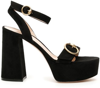 Gianvito Rossi Ankle Strap Block Heeled Suede Sandals