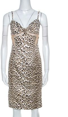 Just Cavalli Brown Leopard Print Mesh Insert Short Dress M