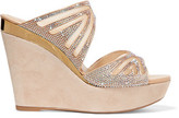 Rene Caovilla Embellished Mesh And Suede Wedge Sandals