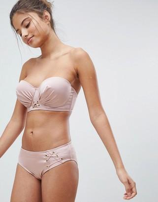 Lepel London Lace Up Bikini Bottom-Pink