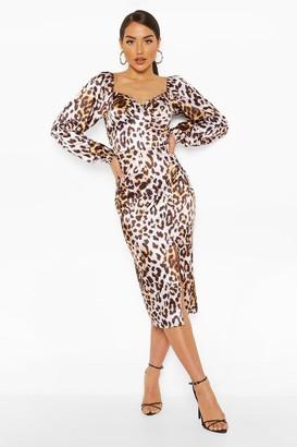 boohoo Leopard Stretch Satin Square Neck Midi Dress