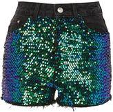 Topshop MOTO Sequin Detail Denim Mom Shorts